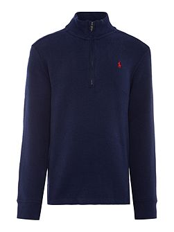 Boys Half Zip Rib Jumper