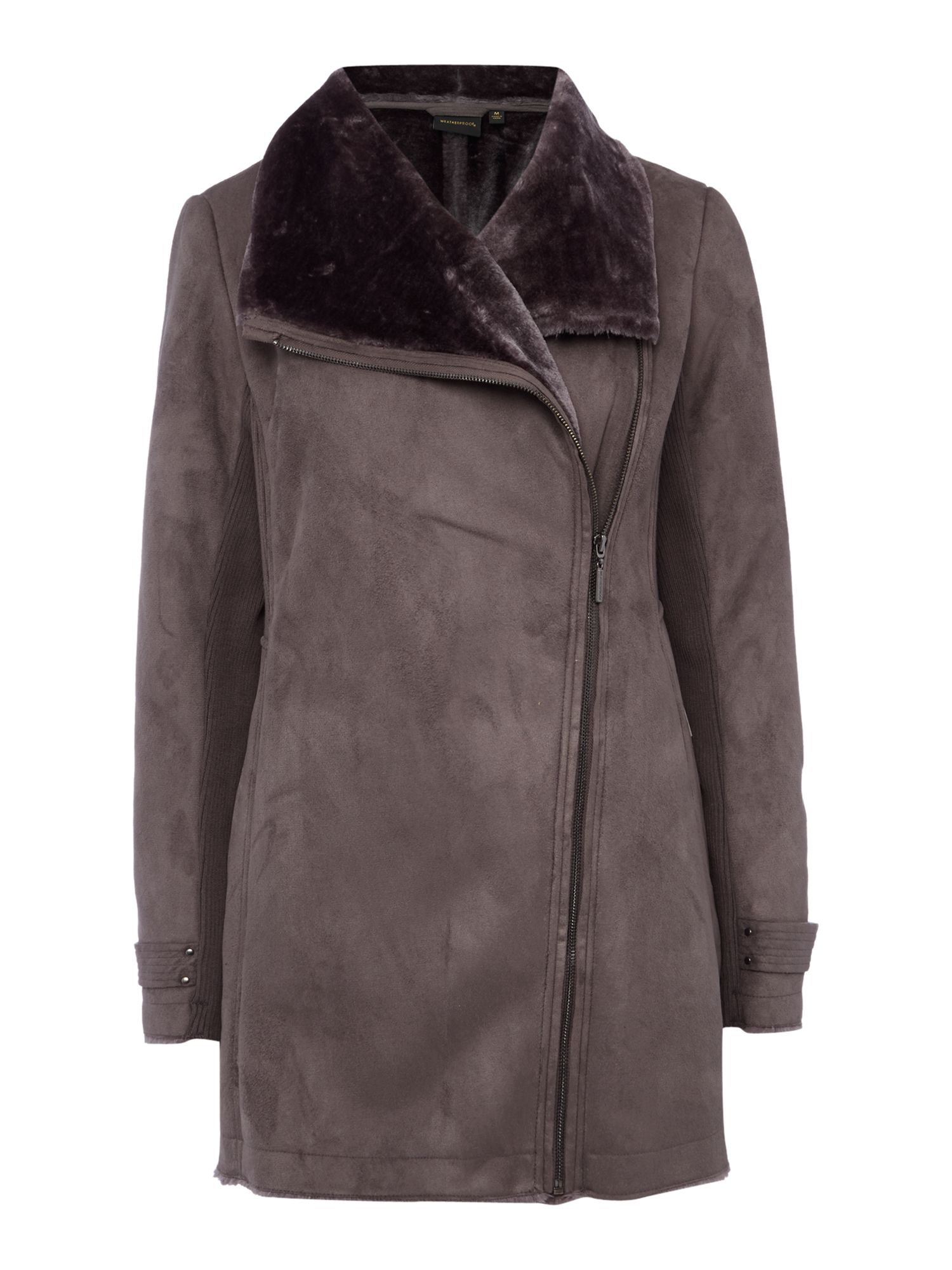 Weatherproof Faux shearling asymmetrical walker jacket, Grey