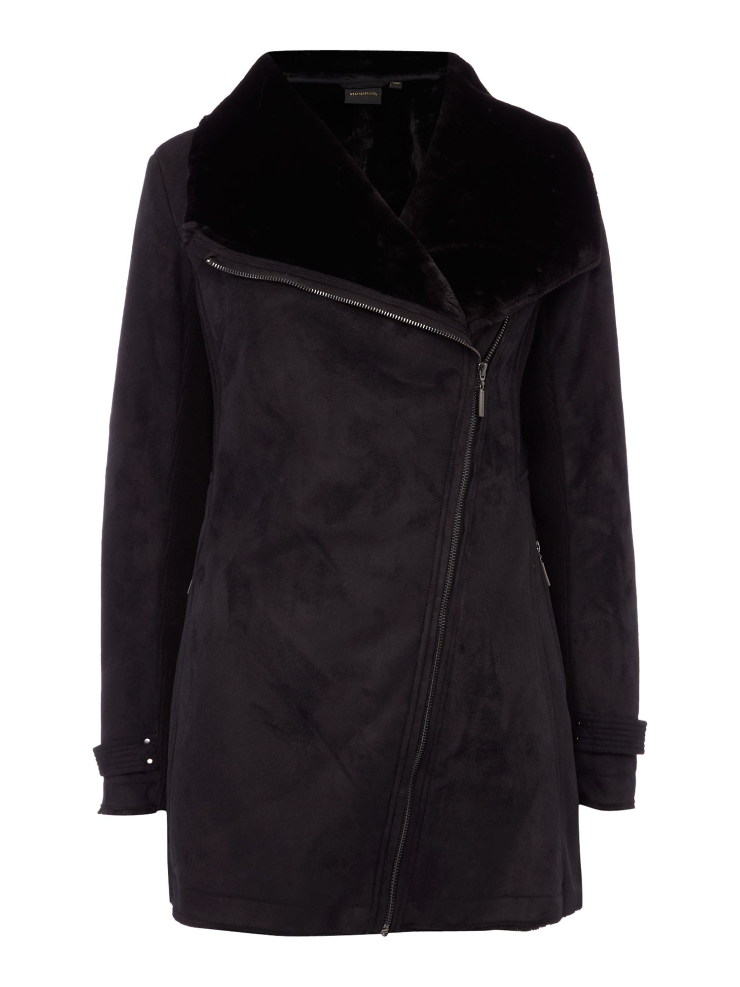 Weatherproof Faux shearling asymmetrical walker jacket, Black