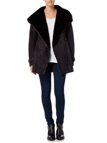 Weatherproof Faux shearling asymmetrical walker jacket