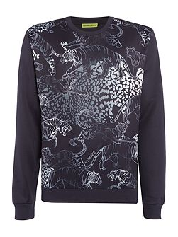 Allover tiger print neoprene sweat top