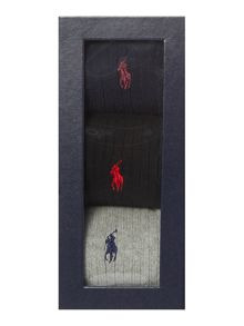 Polo Ralph Lauren 3 Pack Classic Crew Rib Socks In A Box
