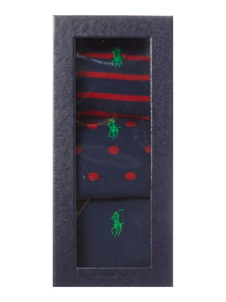 Polo Ralph Lauren 3 Pack Large Pony Logo Socks In A Box