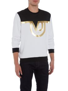 Versace Jeans Foil print panel VJ logo crew neck sweat top