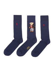 Polo Ralph Lauren 3 Pack Bear Graphic Socks In A Box