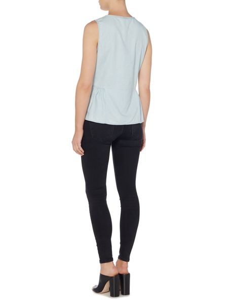 Vila Sleeveless Peplum Denim Top
