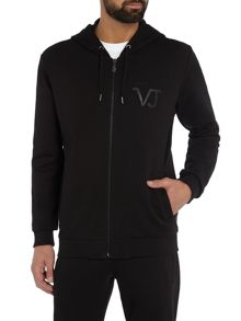 Versace Jeans Chest logo zip through hoddied sweat top