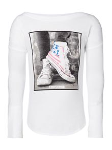 Converse Girls USA Flag Photo Tee