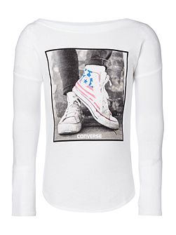 Girls USA Flag Photo Tee
