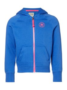 Converse Girls Zip Through Contrast Hooded Sweat
