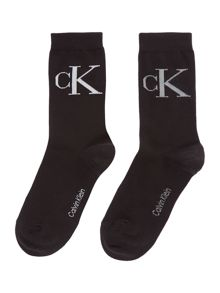 Calvin Klein Retro logo 2 pair pack ankle socks