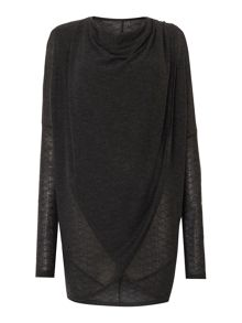 Label Lab Textured wrap-over cowl knit jumper
