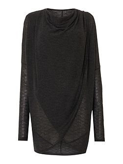 Textured wrap-over cowl knit jumper
