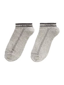 Calvin Klein Waistband logo 2 pair pack trainer socks