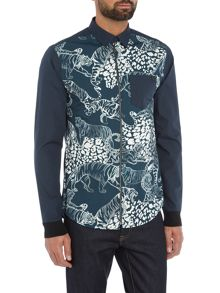 Versace Jeans All over tiger print zip shirt