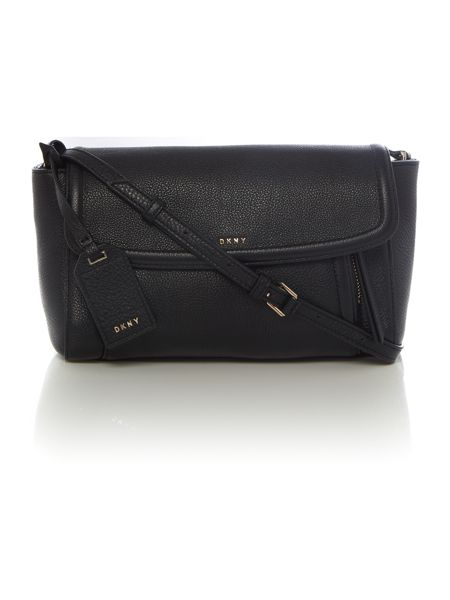 DKNY Chelsea black flap over cross body bag
