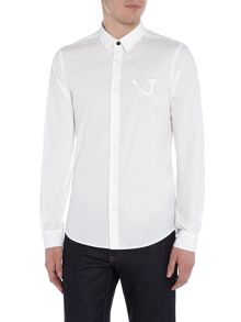 Versace Jeans Slim fit embroidered chest logo long sleeve shirt