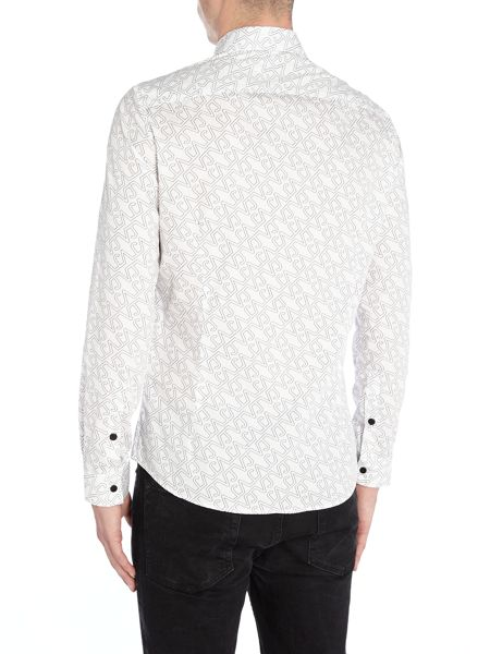 Versace Jeans Slim fit all over VJ print long sleeve shirt