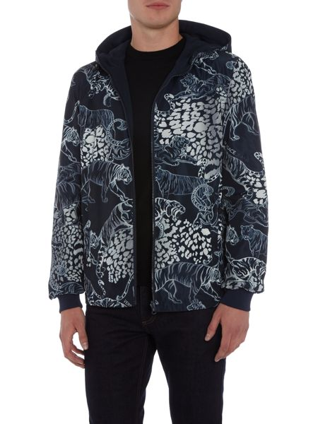 Versace Jeans All over tiger print zip through hooded jacket