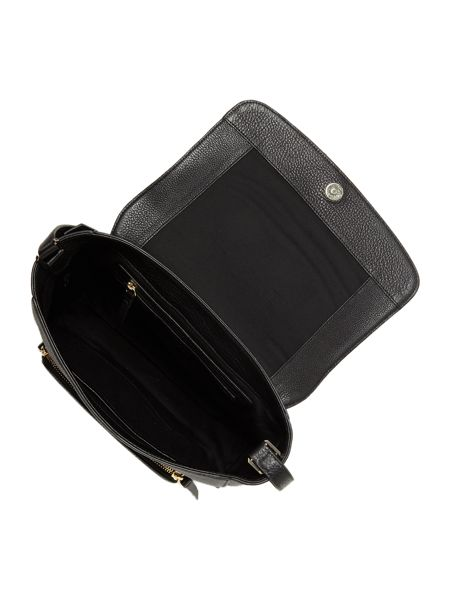 DKNY Chelsea black medium flap over cross body bag