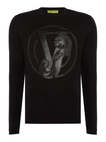 Versace Jeans Large enbroidered logo crew neck jumper