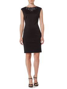 Therapy Jess Embellished Neck Scuba Dress