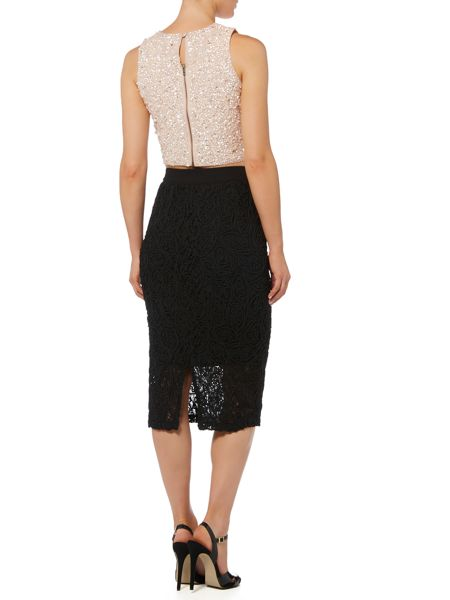 Lace and Beads Short Sleeve Sequin Crop Top