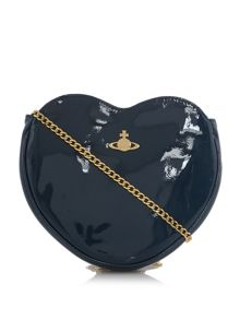 Vivienne Westwood Mirrorball green heart cross body bag