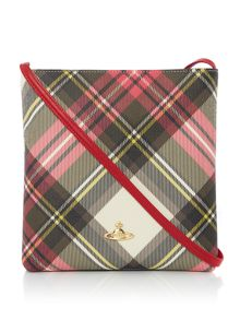Vivienne Westwood Derby new exhibition tartan flat crossbody bag