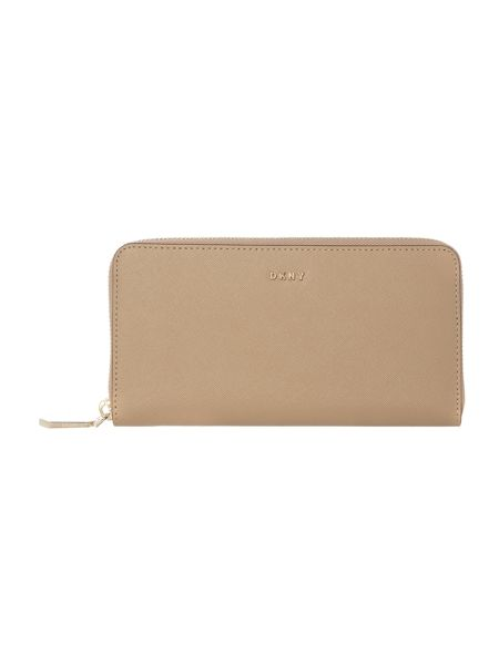 DKNY Saffiano neutral large ziparound purse