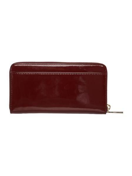 DKNY Patent burgundy large ziparound purse