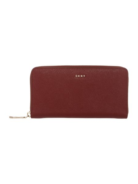 DKNY Saffiano red large ziparound purse