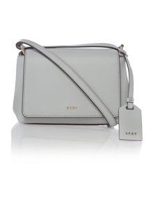DKNY Saffiano light grey mini flapover cross body bag