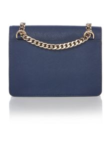 DKNY Saffiano blue mini flapover crossbody bag