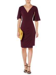 Biba Wrap drape pleat detail dress