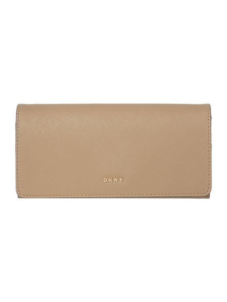 DKNY Saffiano neutral flapover purse