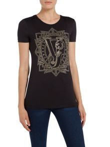 Versace Jeans Short sleeve embellished crew neck tee