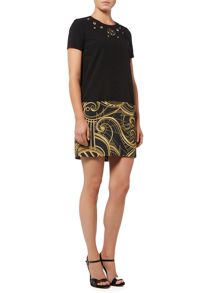 Versace Jeans Short sleeve grommet shift dress