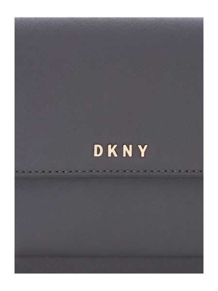 DKNY Saffiano grey mini flapover crossbody bag
