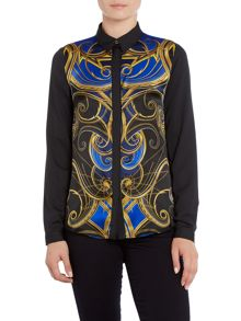 Versace Jeans Long sleeve print silk shirt