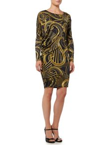 Versace Jeans Long sleeve print bodycon dress