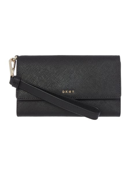 DKNY Saffiano black medium wristlet