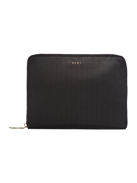 DKNY Gansevoort pinstripe black mini tech case