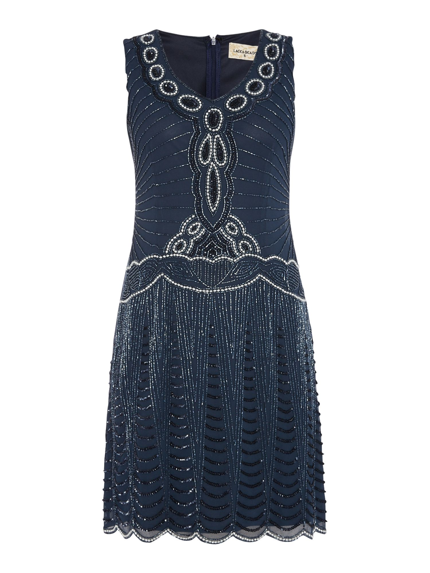 Lace and Beads Short Sleeve Embellished Drop Waist Dress Navy £65.00 AT vintagedancer.com