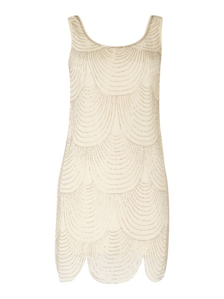 Lace and Beads Short Sleeve Shift Dress