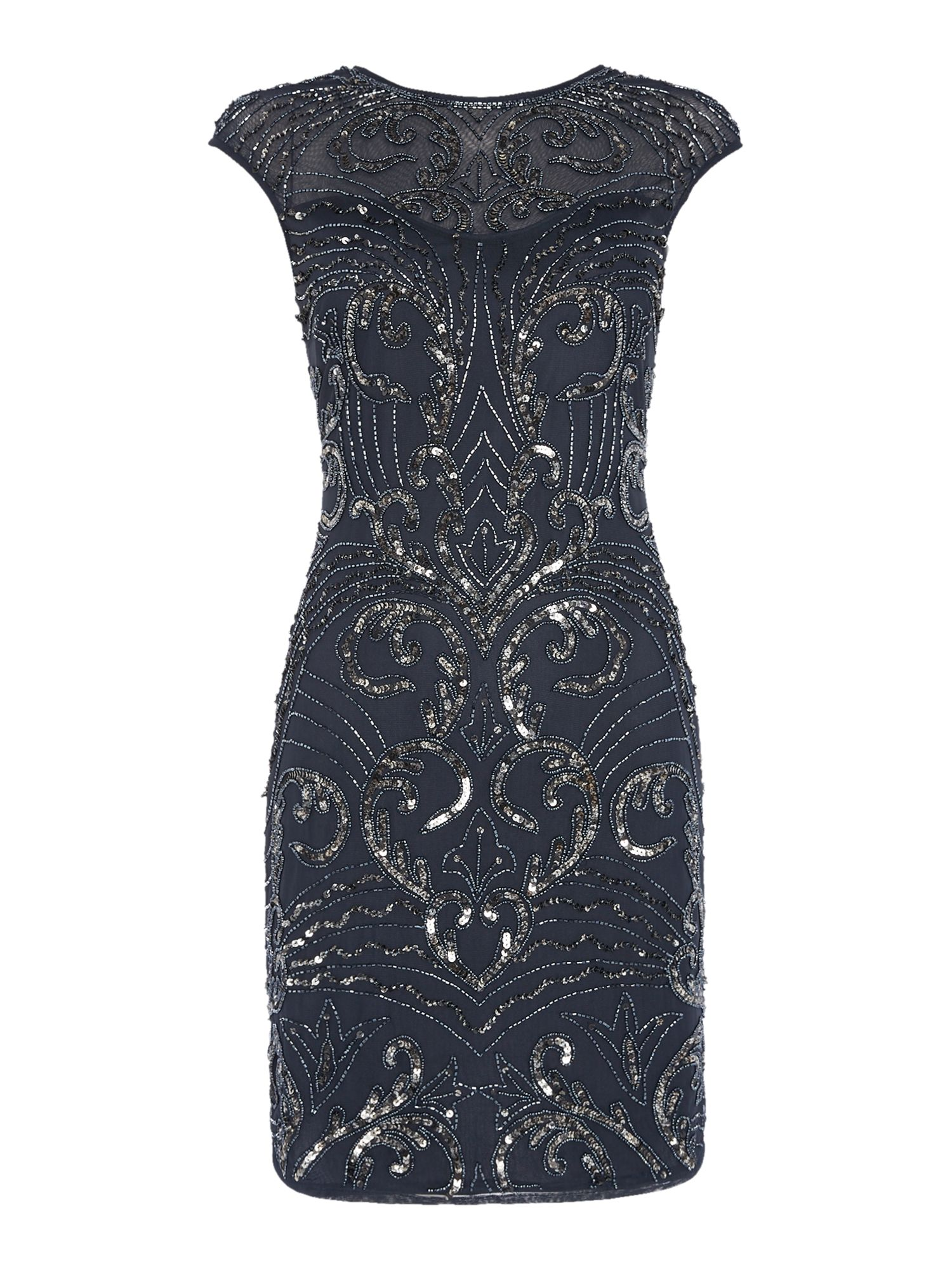 Lace and Beads Cap Sleeve Embellished Bodycon Dress Navy £85.00 AT vintagedancer.com