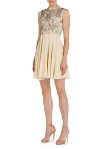 Lace and Beads Short Sleeve Fit and Flare Dress