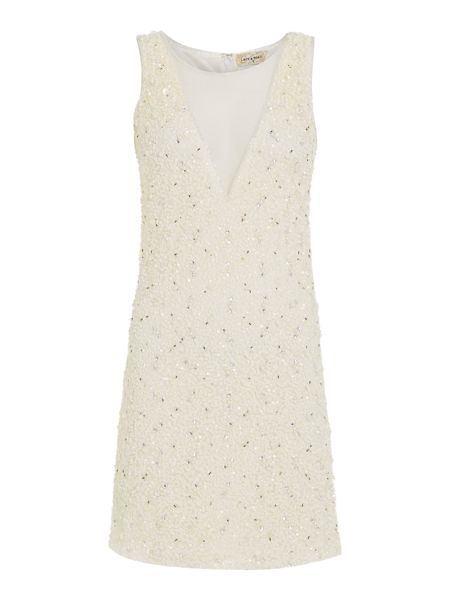 Lace and Beads Short Sleeve Mesh Bodycon Dress