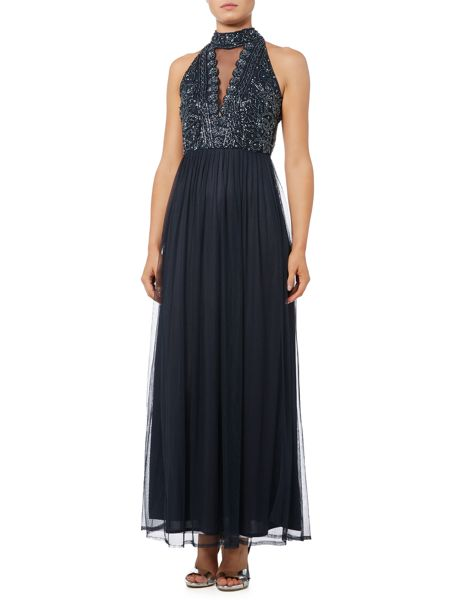 Lace and Beads High Neck Straight Skirt Dress