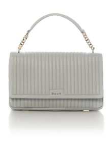 DKNY Gansevoort pinstripe light grey flapover bag